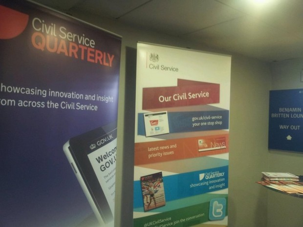 Two upright banners side-by-side, one for Civil Service Quarterly, one for Civil Service Live.