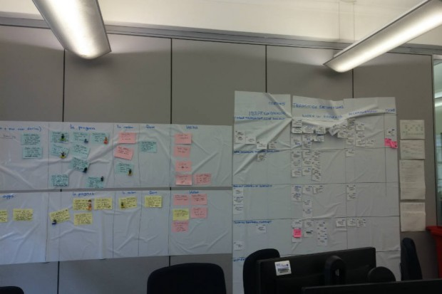 Picture shows a wall covered in sheets and post-its documenting work done and to do