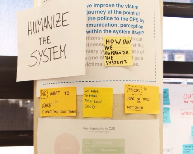 Working poster with the key message 'humanize the system'