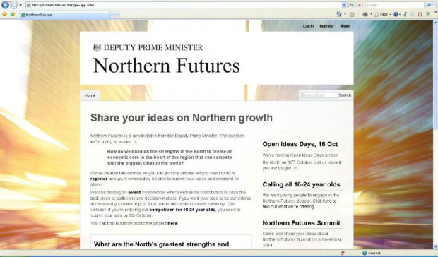 Screenshot of the CitizenSpace Northern Futures page with the Deputy Prime Minister's logo at the top and asking the research question: how do we build on the strengths in the North to create an economic core in the heart of the region that can compete with the biggest cities in the world?