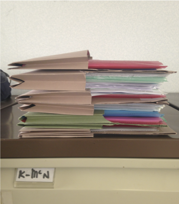 Example of ethnographically-informed research output from a Policy Lab/Department of Health/Department of Work and Pensions project about people in employment with health conditions: Photo taken by interviewee Kelly to highlight the amount of work required to manage health conditions at her place of work.