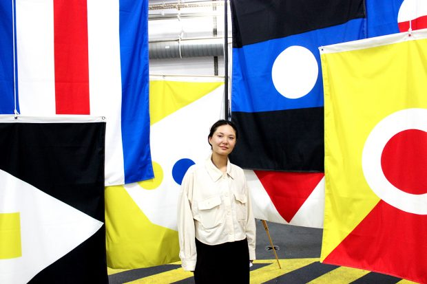 This is an image of Nina Culter, Policy Lab's designer of the speculative flags.