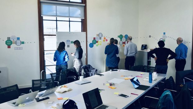 This is an image of the workshop we ran with analysts from a range of departments to share our research insights using a kinaesthetic mapping approach.