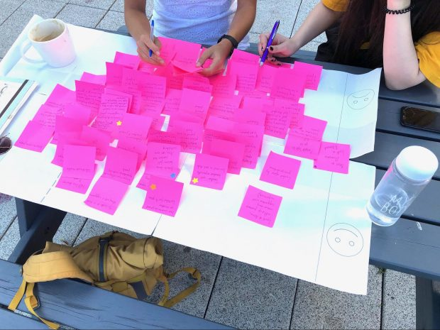 This is an image of mapping user journeys with research participants for a project with new cross-government Disability Unit