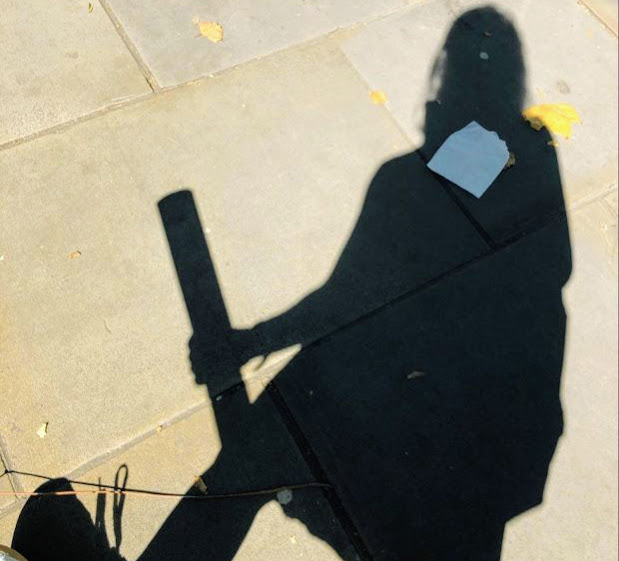 This is an image of the author's own shadow on the pavement whilst out on field research.