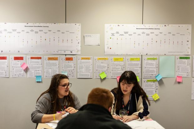 This is an photo of members of the Youth Steering Group reviewing a map of the government consultation process.