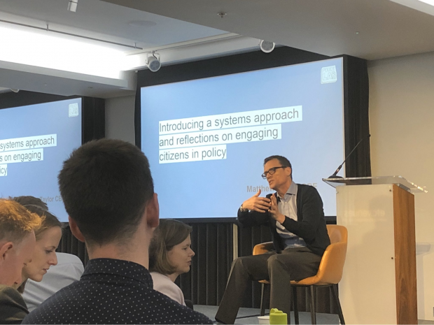 This is an image of Matthew Taylor, Chief Executive of the RSA leading a discussion on government as a system at the annual UK Policy Profession's annual Policy Excellence Group in February 2020.