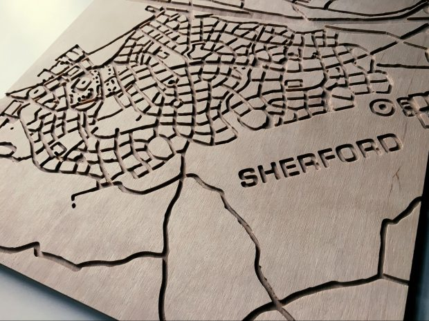 This is an image of a tactile plywood street map.
